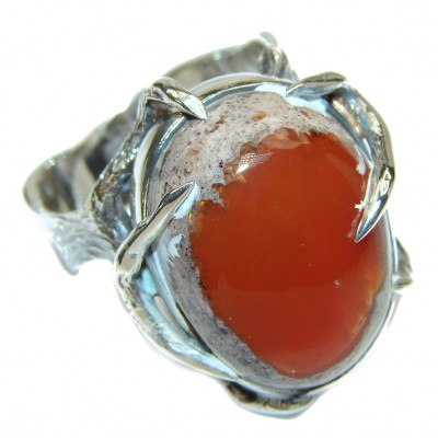 Enchanted Mexican Opal 18K Gold over .925 Sterling Silver handcrafted Ring size 9