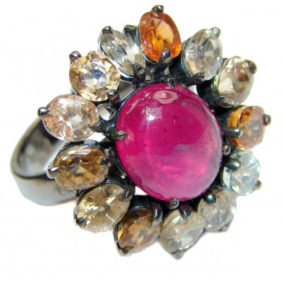 Dazzling natural Red Ruby Tourmaline & .925 Sterling Silver handcrafted ring size 8 1/2