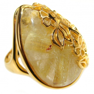Best quality Golden Rutilated Quartz .925 Sterling Silver handcrafted Ring Size 8