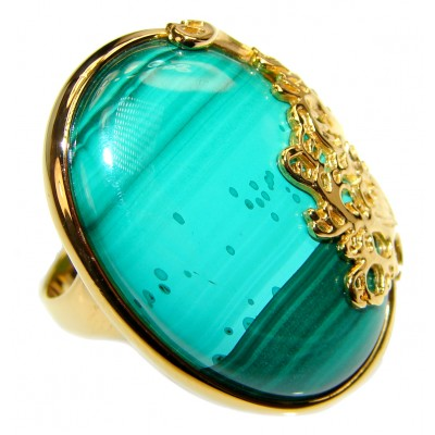 Natural Sublime quality Malachite 14k Gold over .925 Sterling Silver handcrafted ring size 7 1/2