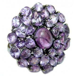 Chunky Amethyst black rhodium over .925 Sterling Silver handcrafted LARGE ring s. 8