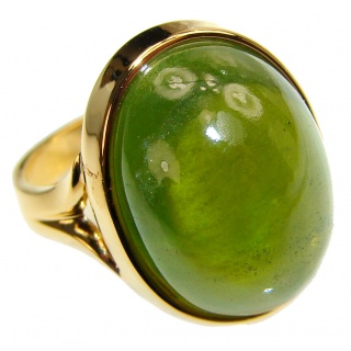 Authentic 20ct Green Tourmaline Yellow gold over .925 Sterling Silver brilliantly handcrafted ring s. 6 1/4