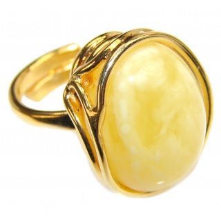 Earth Empress Butterscotch Baltic Amber .925 Sterling Silver handmade Ring size 8 adjustable