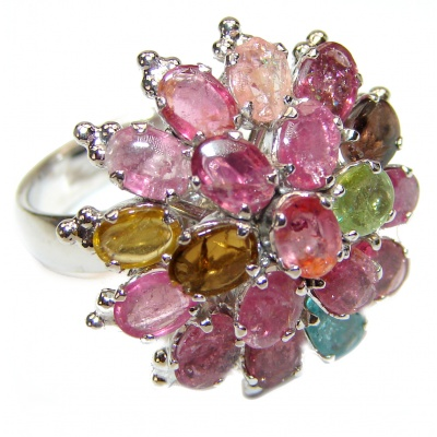Genuine Watermelon Tourmaline .925 Sterling Silver handcrafted Statement Ring size 8 1/2