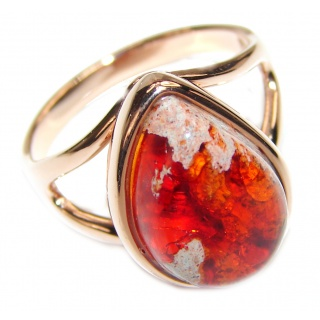 ELECTRIFIED TIDEPOOL Mexican Opal 18K Gold over .925 Sterling Silver handcrafted Ring size 7 3/4