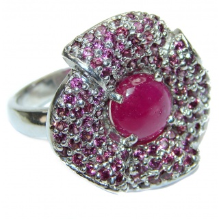 Dazzling natural Red Ruby & .925 Sterling Silver handcrafted ring size 9