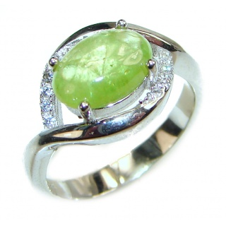 JUICY Natural Prehnite .925 Sterling Silver handmade ring s. 6