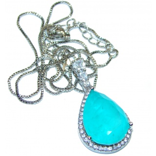 NEW Paraiba Tourmaline .925 Sterling Silver handcrafted necklace