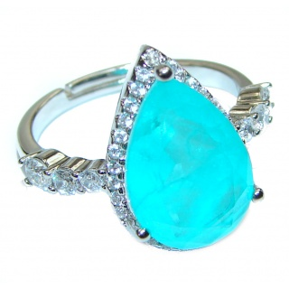 Pear Cut Paraiba Tourmaline .925 Sterling Silver handcrafted Statement Ring size 7 1/4