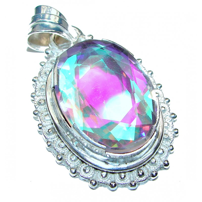 Classic Rainbow Abalone Garnet Sterling Silver Pendant