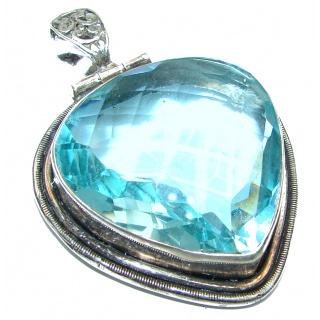 Large Perfect facteted Blue Quartz .925 Sterling Silver handmade pendant