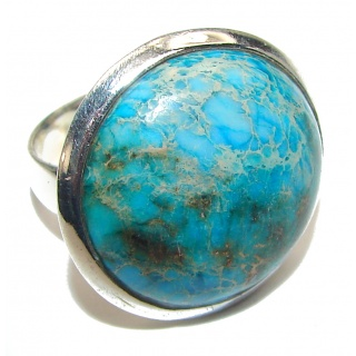 Large Sea Sediment Jasper .925 Sterling Silver handmade ring size 7 3/4