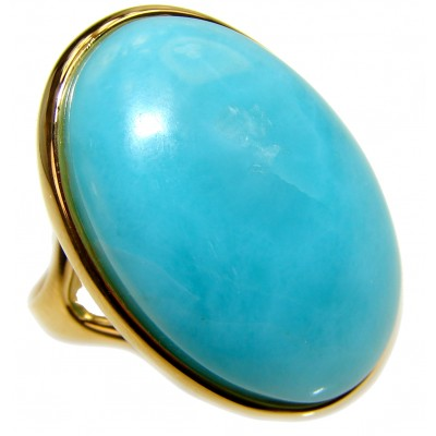 Vintage Design Natural Larimar 18K Gold over .925 Sterling Silver handcrafted Ring s. 7 3/4