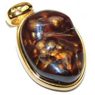 Perfect Mexican Fire Agate 18K yellow Gold over .925 Sterling Silver handmade Pendant
