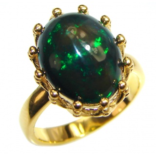 Vintage Design 2.5ctw Genuine Black Opal 18K Gold over .925 Sterling Silver handmade Ring size 5 3/4