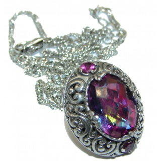 Magic Rainbow Topaz .925 Sterling Silver handmade necklace