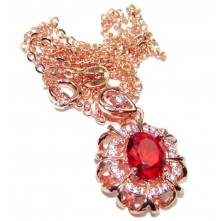 Princess Incredible Authentic Ruby & Diamonds .925 Sterling Silver necklace