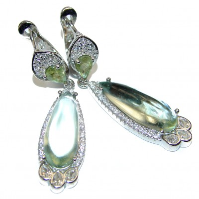 Exclusive Green Amethyst .925 Sterling Silver Earrings