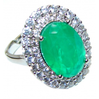 Colombian 12ct Emerald .925 Sterling Silver handcrafted Statement Ring size 8 3/4