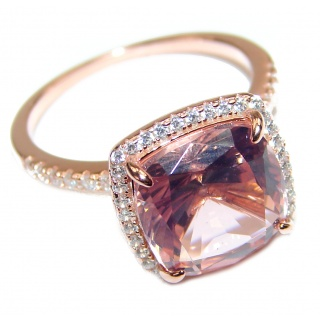 Princess Cut Morganite 14K Rose Gold over .925 Sterling Silver handcrafted ring s. 6 1/4