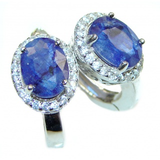 Earth Treasure Authentic Sapphire .925 Sterling Silver handcrafted stud earrings
