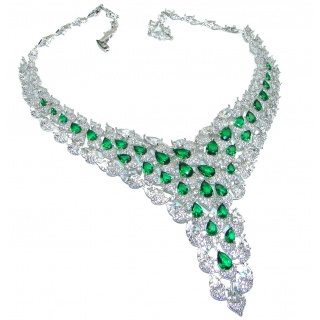 Spectacular Victorian Style Green Topaz .925 Sterling Silver necklace