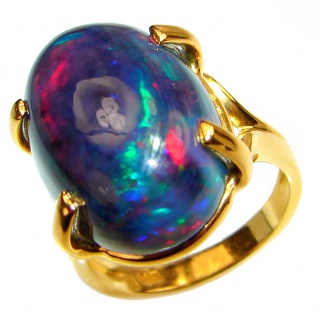 Vintage Design 12.5ctw Genuine Black Opal 18K Gold over .925 Sterling Silver handmade Ring size 6 1/4