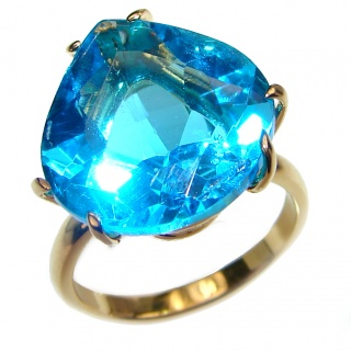 25ct Electric Blue Topaz 14K Gold over .925 Sterling Silver LARGE handmade ring s. 7 1/4