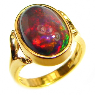 BIG DREAMER 12.5ctw Genuine Black Opal 18K Gold over .925 Sterling Silver handmade Ring size 5 1/4