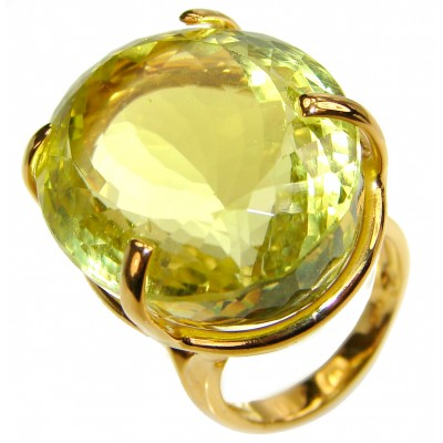Royal Design 69ct Lemon Topaz 18K yellow Gold .925 Sterling Silver handmade ring size 6