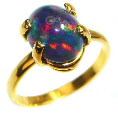 Vintage Design 2.5ctw Genuine Black Opal 18K Gold over .925 Sterling Silver handmade Ring size 9 1/2