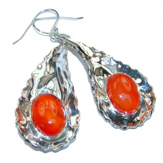 Large Perfect Orange Carnelian hammered Sterling Silver earrings