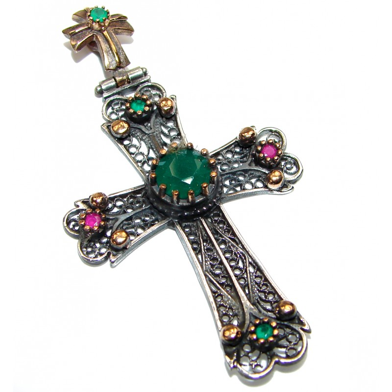 Cross created Emerald Sterling Silver handmade Pendant