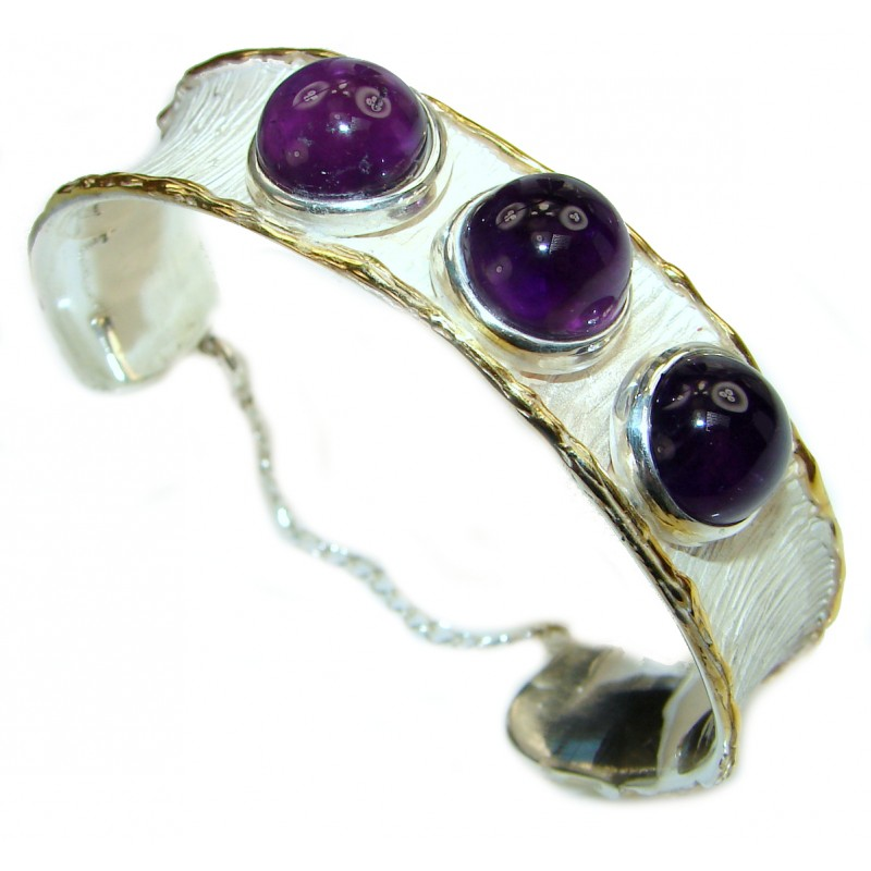 Genuine Amethyst 18K Gold Rhodium over .925 Sterling Silver handcrafted Bracelet / Cuff