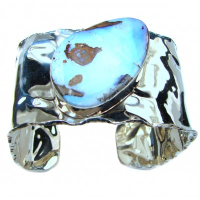 Norwegian Northern Lights Boulder Opal handmade .925 Sterling Silver HUGE Bracelet / Cuff