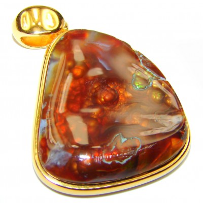 Perfect Mexican Fire Agate Gold over .925 Sterling Silver handmade Pendant