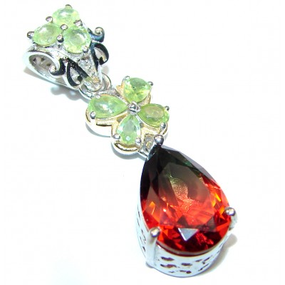 Deluxe pear cut Pink Tourmaline 18K Gold over .925 Sterling Silver handmade Pendant