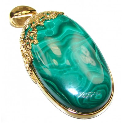 Authentic rare Malachite 14K Gold over .925 Sterling Silver handmade Pendant