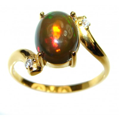 Vintage Design 3.2ctw Genuine Black Opal 14K Gold over .925 Sterling Silver handmade Ring size 8