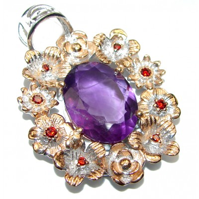 Genuine African Amethyst 14K Gold over .925 Sterling Silver handcrafted pendant