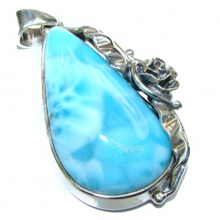 Great quality Larimar .925 Sterling Silver handmade Huge pendant