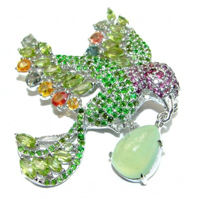 Large Bird genuine Peridot Sapphire Ruby .925 Sterling Silver handmade Pendant - Brooch