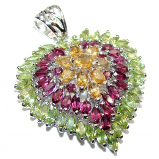 Genuine Authentic Multigem Heart .925 Sterling Silver handcrafted Pendant