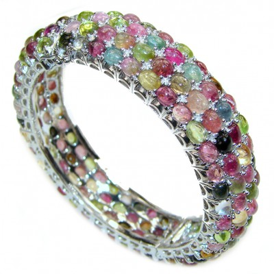 Luxury 352ctw (total carat weight) authentic Brazilian Watermelon Tourmaline .925 Sterling Silver handmade Bracelet