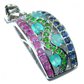 Mia Ruby Emerald Sapphire .925 Sterling Silver handcrafted pendant