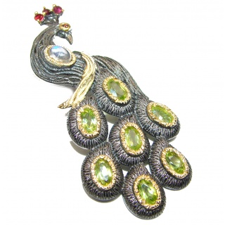 Dazzling Peacock Natural Peridot 925 Sterling Silver Pendant Brooch