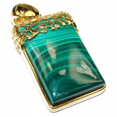 Top Quality Malachite 14K Gold ver.925 Sterling Silver handmade Pendant
