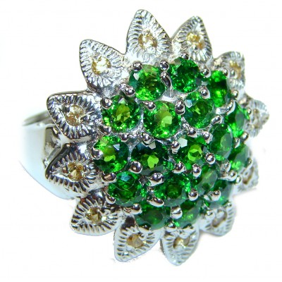 Genuine Chrome Diopside .925 Sterling Silver handcrafted Statement Ring size 9