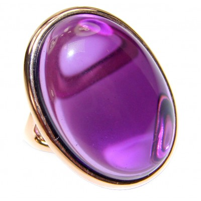 Authentic 65ctw Amethyst rose gold over .925 Sterling Silver brilliantly handcrafted ring s. 7 1/2