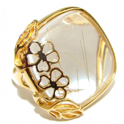 Best quality Golden Rutilated Quartz .925 Sterling Silver handcrafted Ring Size 9